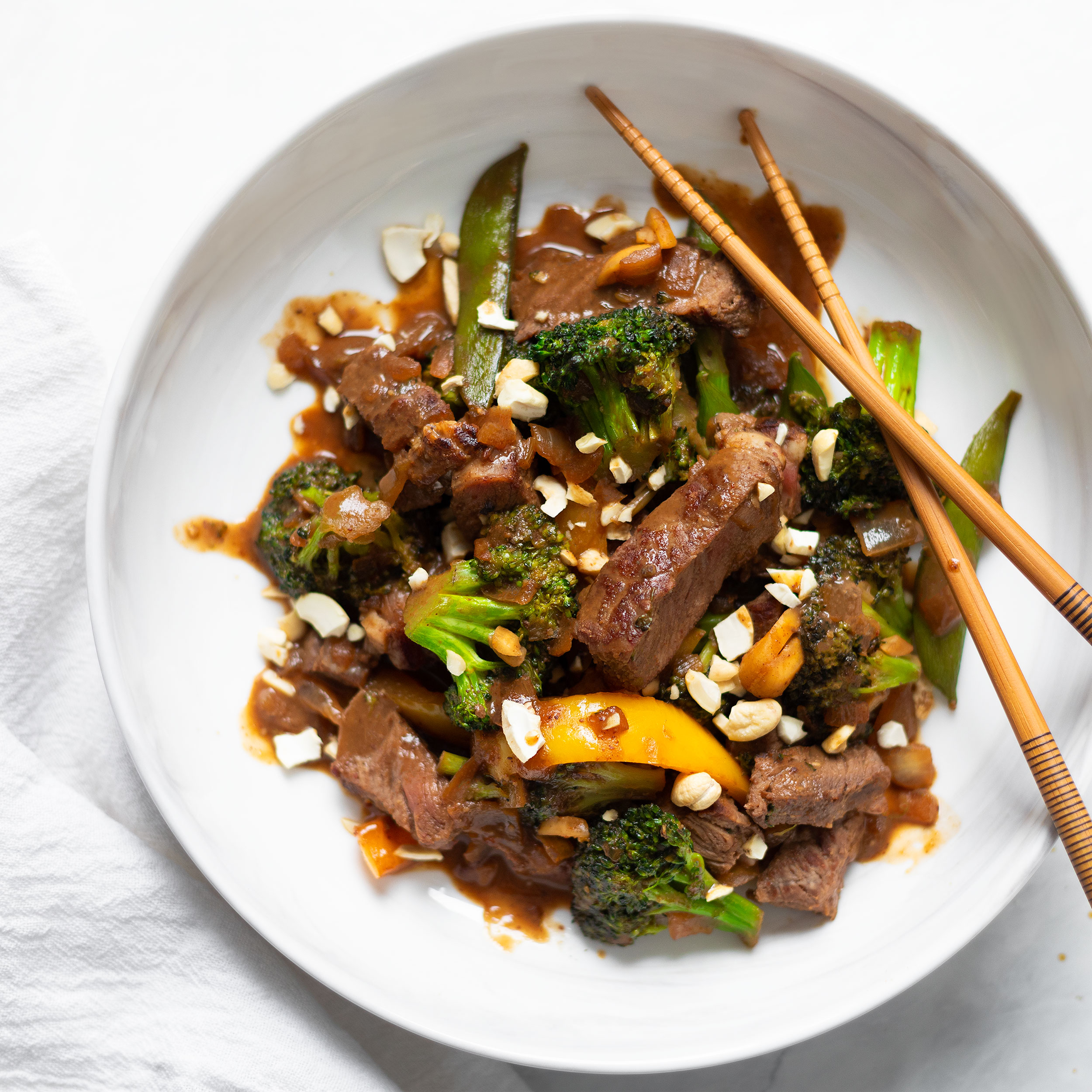 Cashew Beef Broccoli Bowl